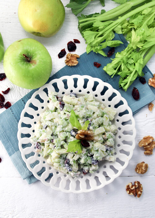 A plate of apple salad with celery and cranberry