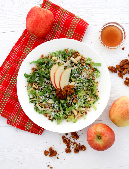 A plate of apple salad with honey vinaigrette