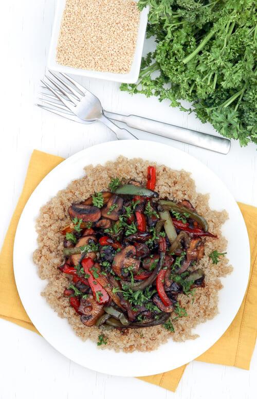 A bowl of mushroom teriyaki quinoa