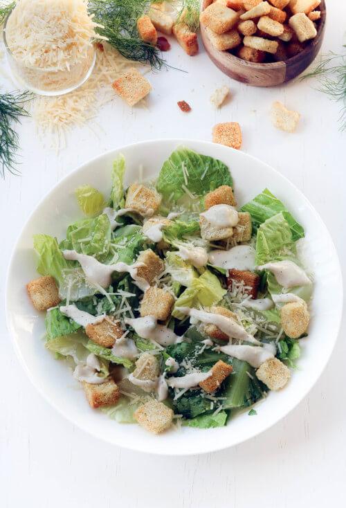 A plate of a classic caesar salad