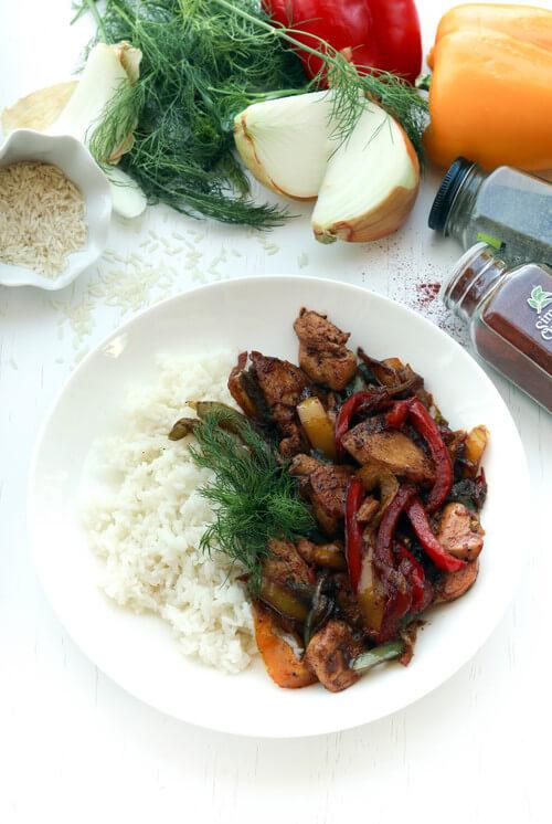 A chicken veggie rice bowl