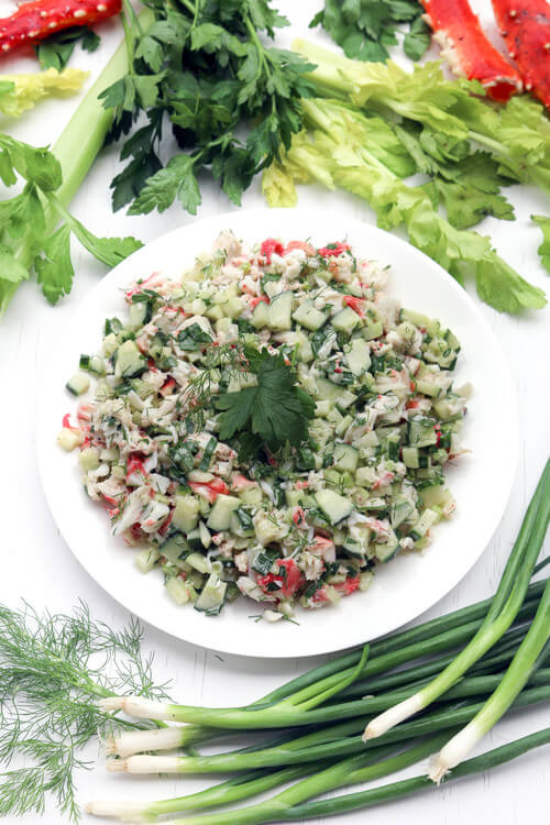 A plate of cucumber crab salad