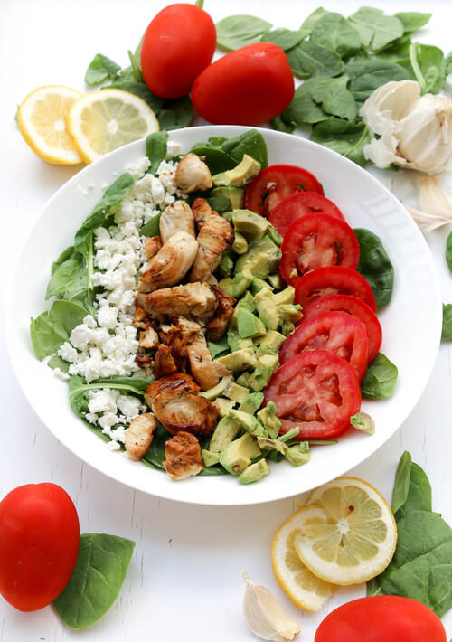 A plate of garlic herb lemon chicken salad