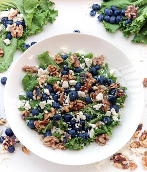 A plate of blueberry walnut salad