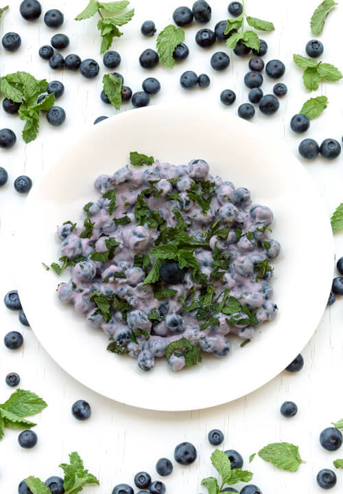 A plate of blueberry mint salad recipe