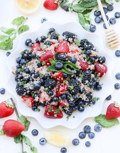 A plate of sweet quinoa fruit salad