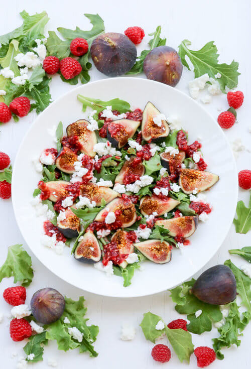 a plate of fig salad