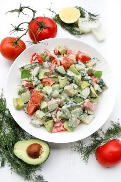 A plate of Avocado Tomato Cucumber Salad