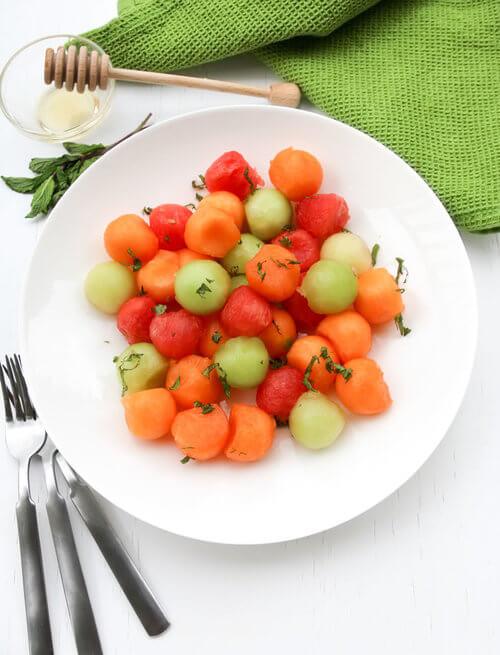 A plate of summer sweet melon salad