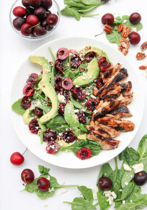 A plate of Quick Chicken and Cherry Salad