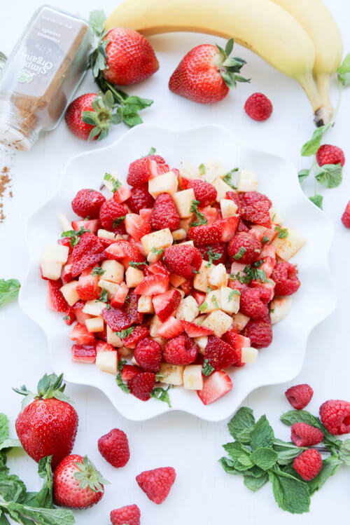 A plate of  Fruit Salad with Sweet Honey Orange Cinnamon Dressing