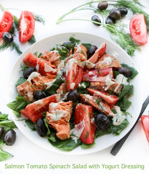 A plate of Salmon Tomato Spinach Salad with Dijon Yogurt Dressing