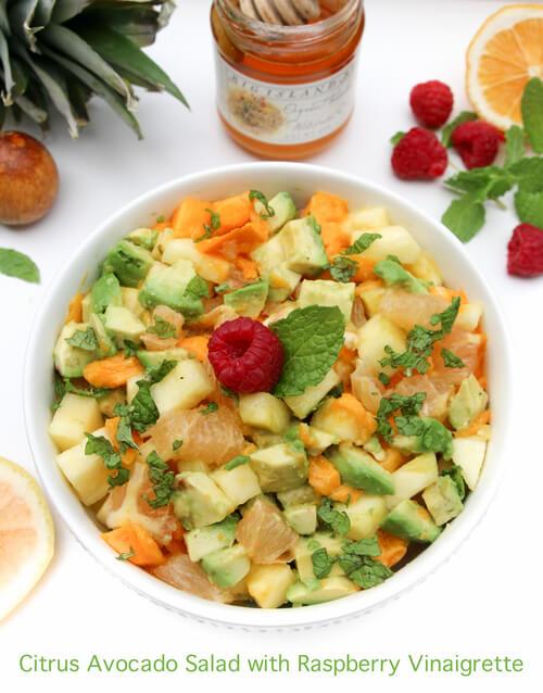 A plate of Citrus Avocado Salad with Raspberry Vinaigrette