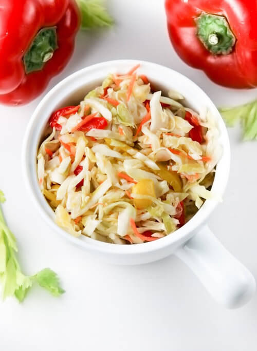 A plate of cabbage salad