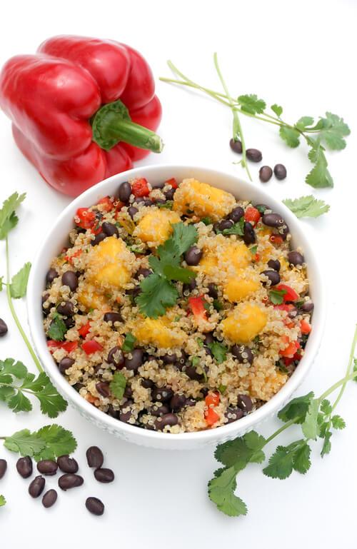 A plate of Quinoa Black Bean Mango Salad