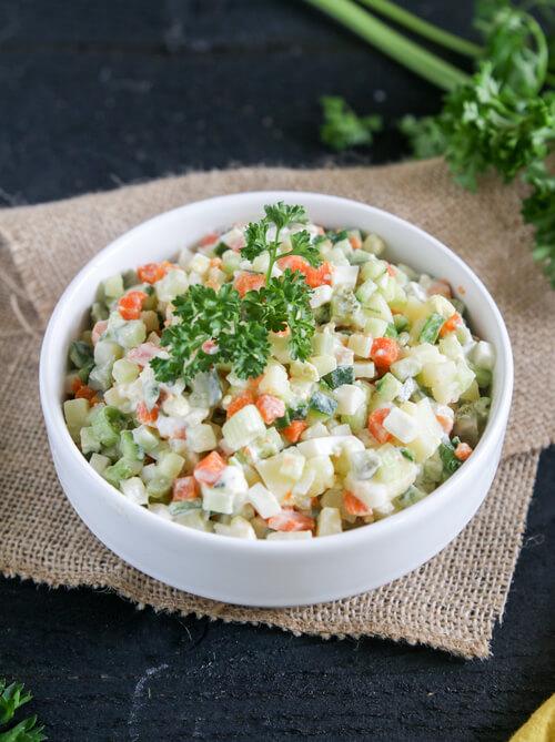 A plate of Olivier Salad