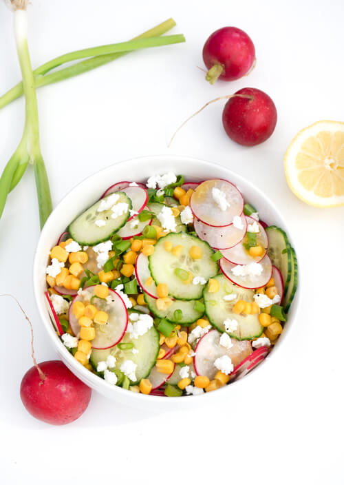 A plate of Radish Corn Cucumber Salad