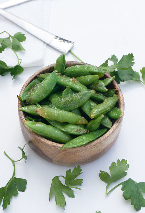 A plate of Seared Sugar Snap Peas Salad