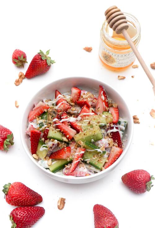 A plate of Strawberry Cucumber Salad with Greek Yogurt Salad