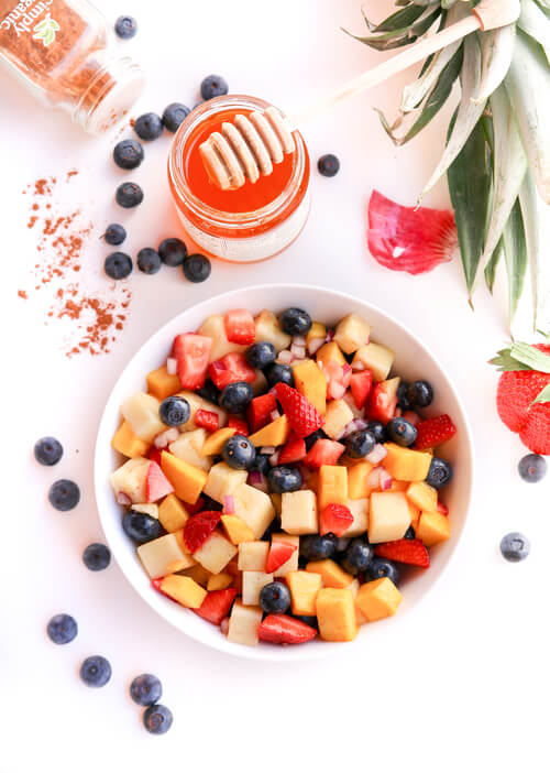 A plate of Fruit Salad with Cinnamon Dressing