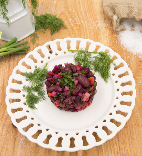 A plate of Russian Russian Vinaigrette