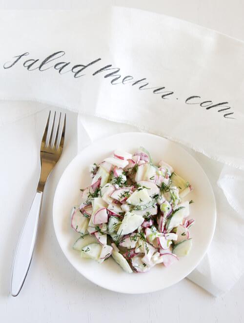 A plate of Radish Cucumber Salad