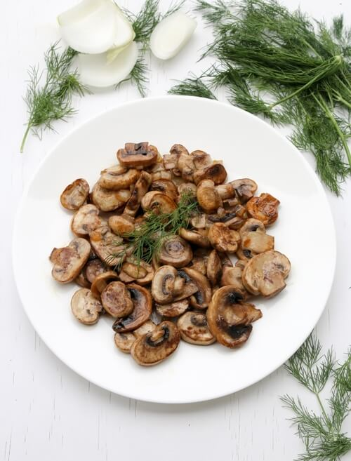A plate of  Seared Mushrooms