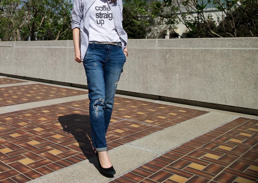 Shirt:$29(Similar),T-shirts:$30, Jeans:$79.70, Shoes:$50Photo:G