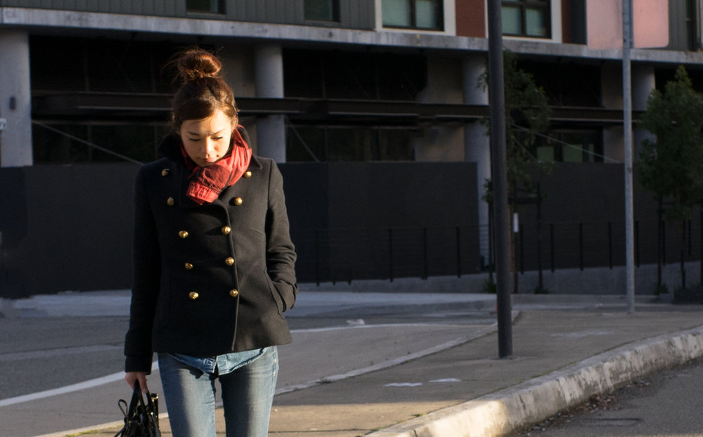 Peacoat: $130(Used 50%off sale), Jeans: $40, Pajarf: $17, Bag: $595, Photo:G
