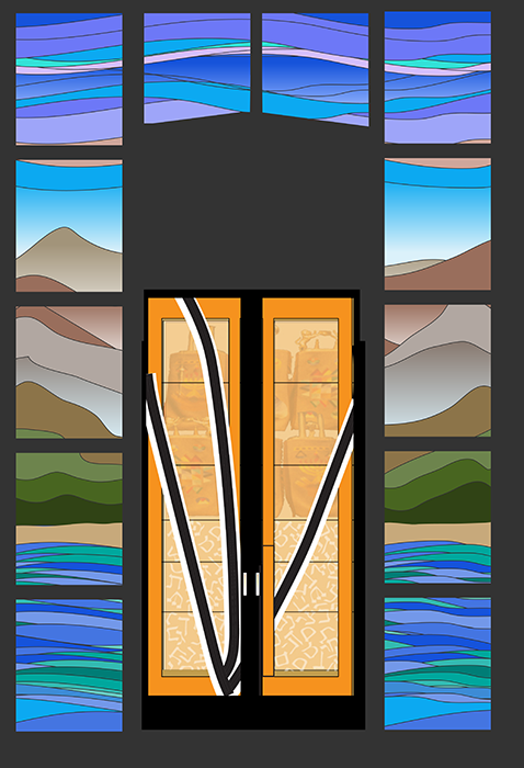 Here is an image of the ark doors with the surrounding stained glass windows