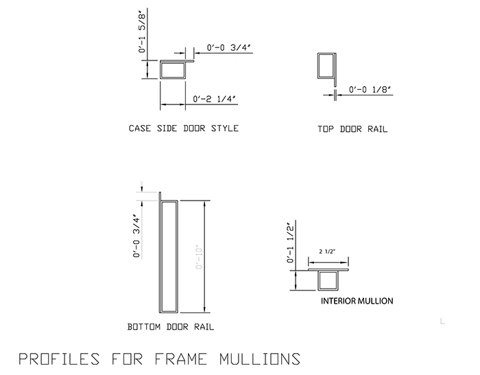 Above are examples of the steel mullion profiles for the ark door frame.