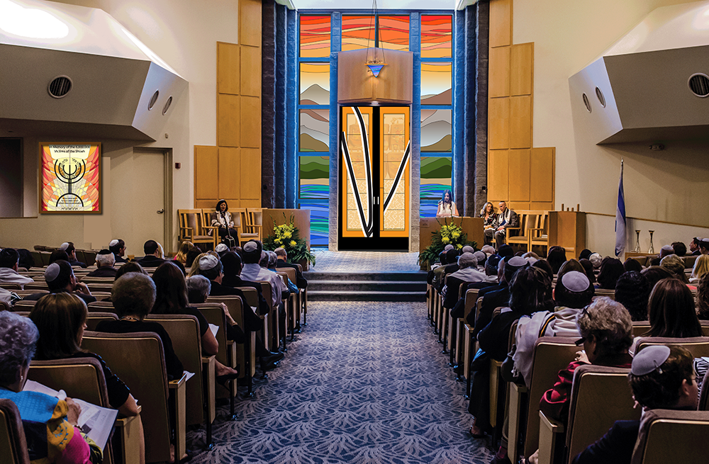 Above, the updated image of the sanctuary with the Holocaust Memorial shown in a slightly smaller size.
