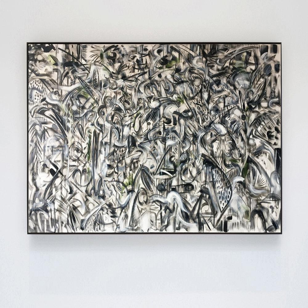 his key monochrome, 2018, oil, oil stick on canvas, ivy, tulip wood moulding, dark oak finish, 90 x 120 x 4cm