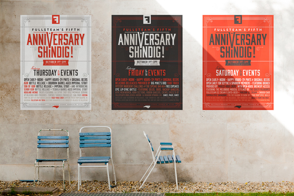 Fullsteam brewery anniversary posters