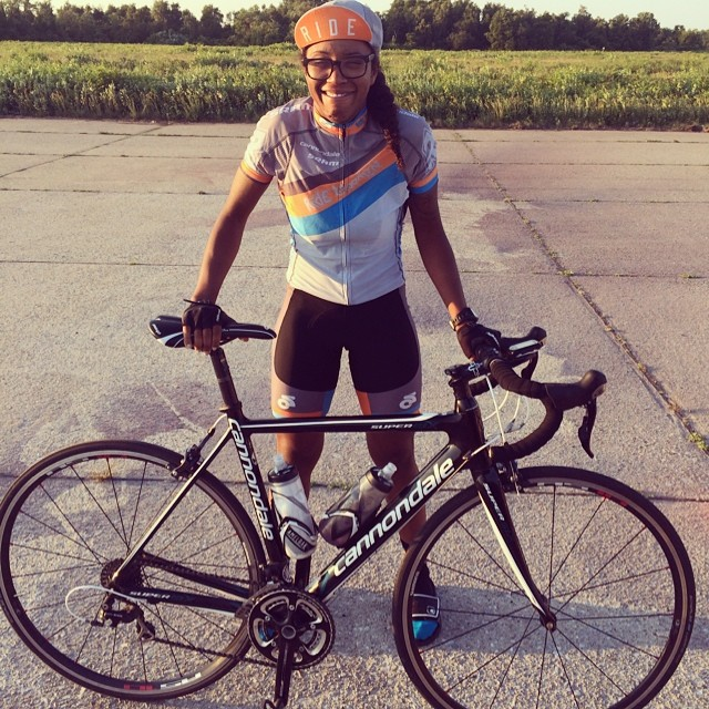 Me and my beloved road bike after finishing dead last and having a damn good time doing so!