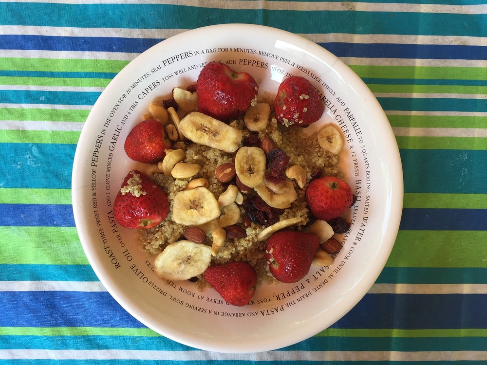 Quinoa with Strawberries, Banana Chips, Almonds, Cashews and Dried Cranberries