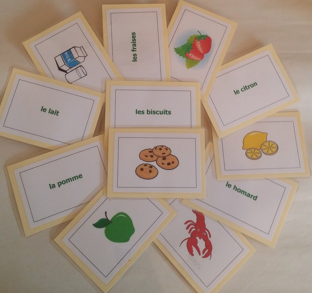 Pictured: Extra-fancy flashcards; a selection of cards from the French food set.  Standard flashcards will be the same content, without the coloured border.