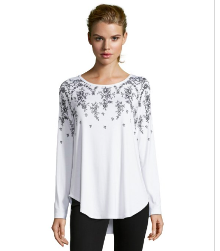 sequined white top for petite sizes