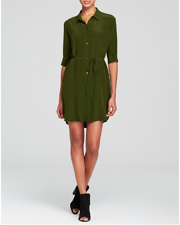 silk green shirtdress