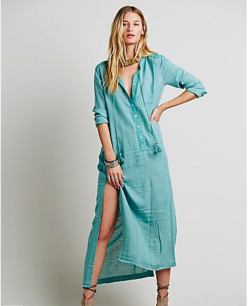 Teal cotton shirtdress