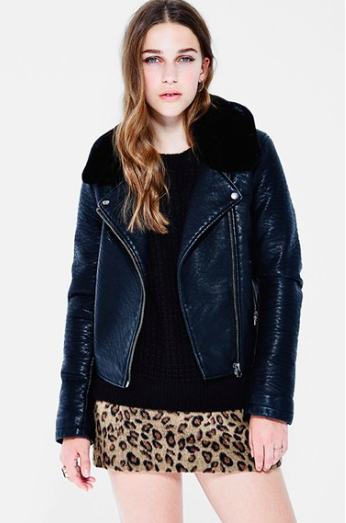 faux leather jacket with shearling collar