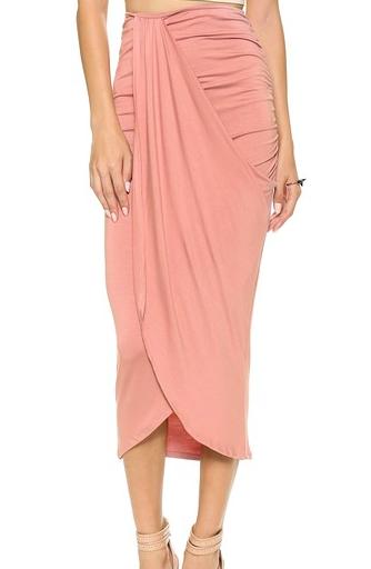 pink shirred midi skirt