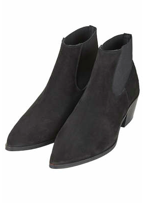 Topshop pointy suede black booties