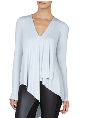 BCBG LONG-SLEEVE ASYMMETRICAL TOP