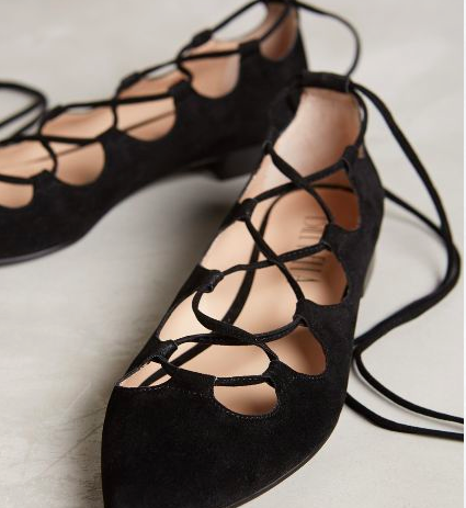 Anthropologie lace up black suede flats