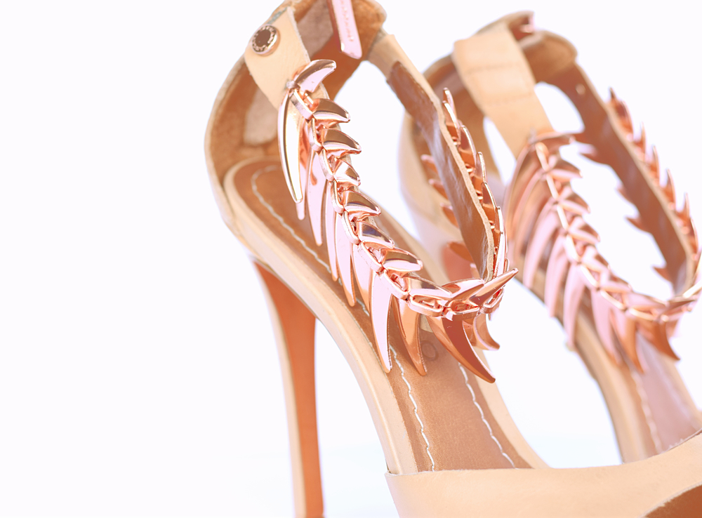 nude heeled sandal with rose gold
