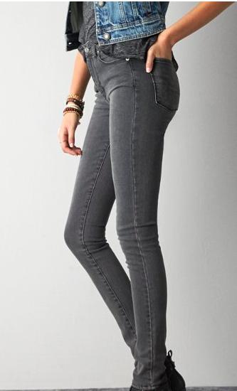 AE grey skinny jeans