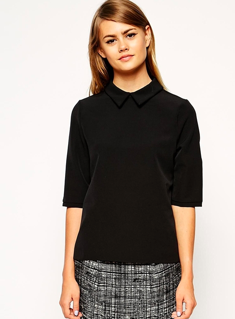 asos black collared top