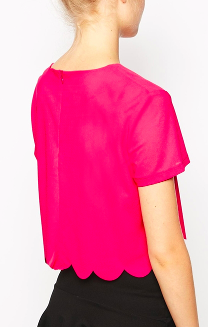 Asos hot pink scalloped crop top