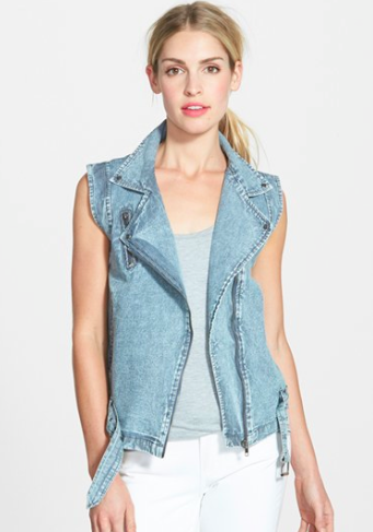 zippered denim vest